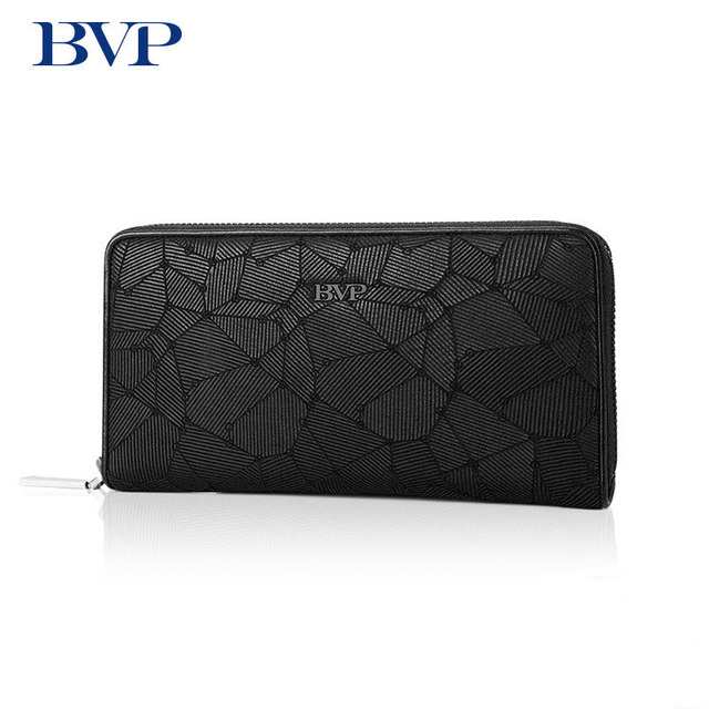 BVP Brand High Quality First Layer Of Genuine Leaatehr Men's Multi-card Long Wallet Business Man Zipper Purse Fashion Clutch j50