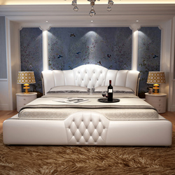 1.5 or 1.8m bed leather home soft leather bed for bedroom set  #CE-097