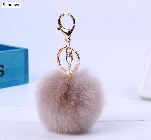 New Women Fur Key chain Car Keychain Pom Pom 8cm  pompom  13 Colors with pearl Bag charm Cute Car Key Ring Jewelry #16002