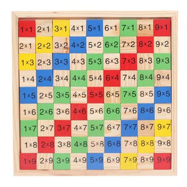 Wooden digital board multiplication table educational math - Domino table de multiplication ...