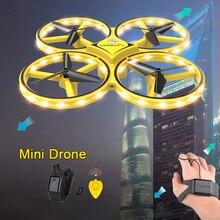 БПЛА, самолет, игрушка UFO Летающий Дрон с часами, браслет управления RC Квадрокоптер с ручным управлением, инфракрасное Предотвращение препятствий# E