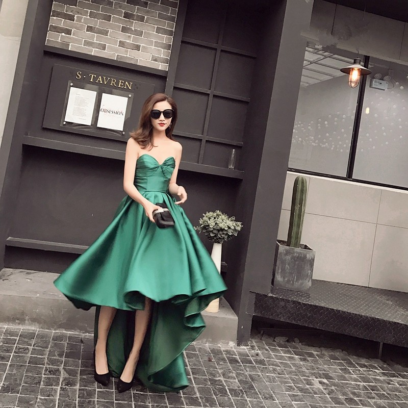 New Arrival Taffeta Asymmetrical Emerald Green Cocktail Dresses Sweetheart Sleeveless Robe De Cocktail Mi Longue 0103B 1