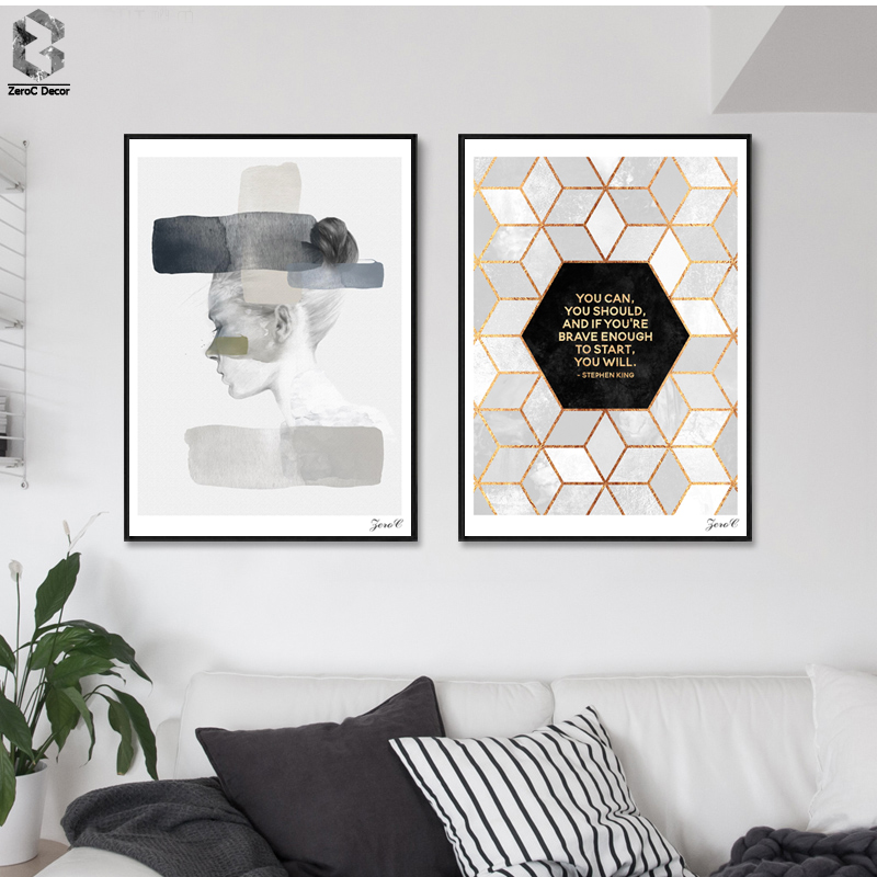 Portrait Girl Poster dan Cetakan Kanvas, Wall art Geometric Cube Lukisan Gambar untuk Living Room Minimalism Home Decor