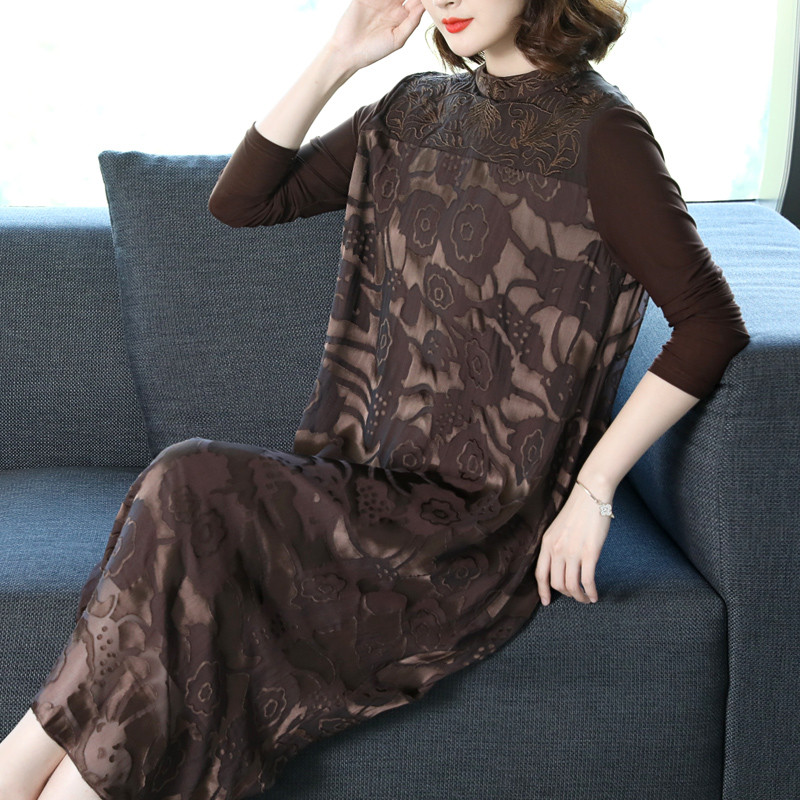 2019 Spring Autumn New Women's Temperament Retro stitching Silk Dress Large Size Dresses Vestidos X498