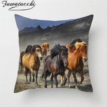 Fuwatacchi Horse Animal Painting Cushion Cover Wild Grassland Throw Pillows Pillowcase Home Decor Accessory Pillow Case