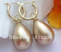 20m Drip Champagne South Sea Shell Pearl Dangle Earrings