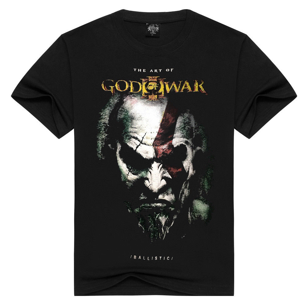 2018 HOT Game God of War Impressive Ares 3 Kratos Printing Black T Shirt Mens Male Best Selling T Shirt Tee Shirts Hipster