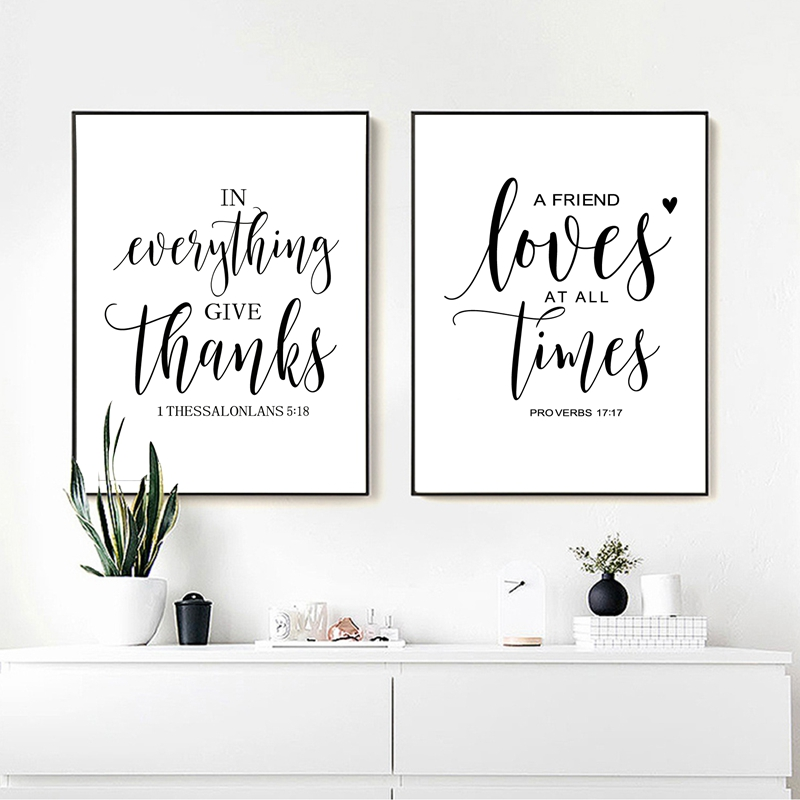 Bible Verse Thanksgiving Prints and Poster , Friendship Quotes Scripture Canvas Painting Living Room Wall Art Home Decor no frame canvas