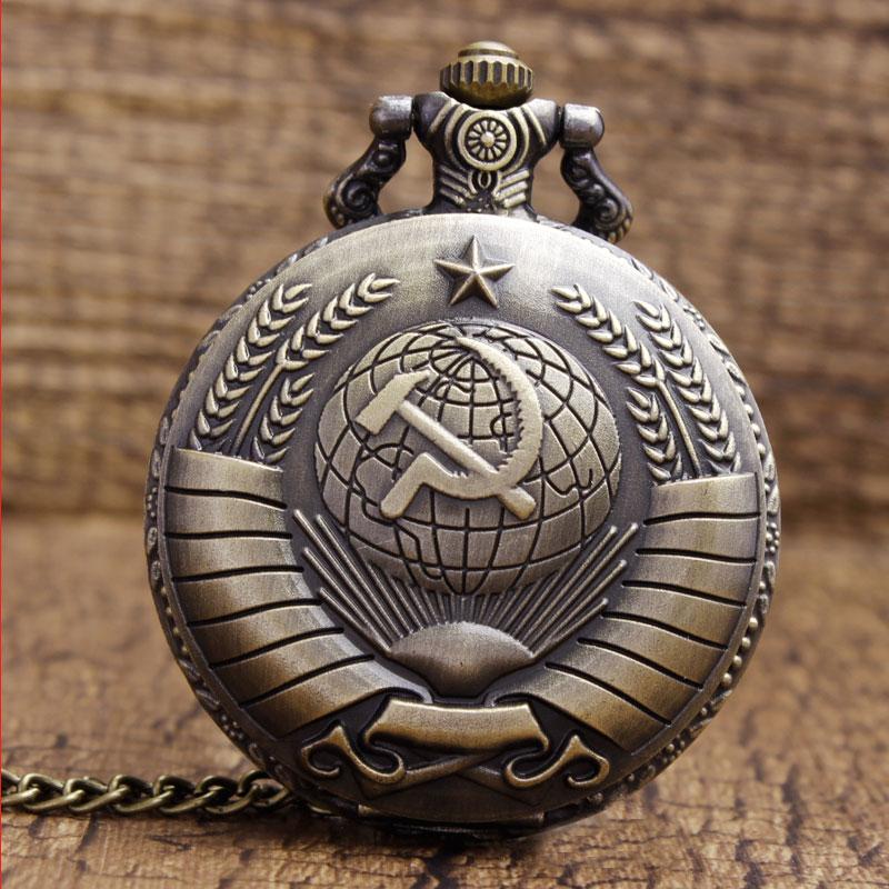 Vintage USSR Soviet Badges Sickle Hammer Pocket Watch Necklace Bronze Pendant Chain Clock CCCP Russia Emblem Communism Men Women statue
