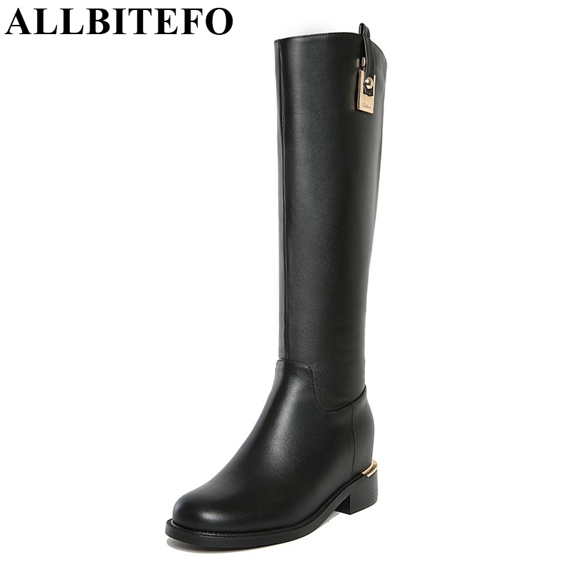 ALLBITEFO Large size Low-heeled zip fashion charm winter snow booots genuine leather+PU women knee high boots women boots allbitefo golden zip decorate fashion spring winter snow shoes genuine leather pu women boots casual knee high boots size 33 43