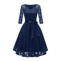 Women Lace Dress Fashion See Through V Neck 3/4 Sleeve Elegant Midi Dresses Plus Size Hollow Out Party Gown Vestidos with Sashes