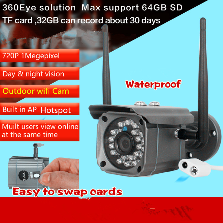 wifi wireless 720P outdoor video recorder IP HD 1.0MP WaterprooF camera TF card slot loop recording motion detect Phone View