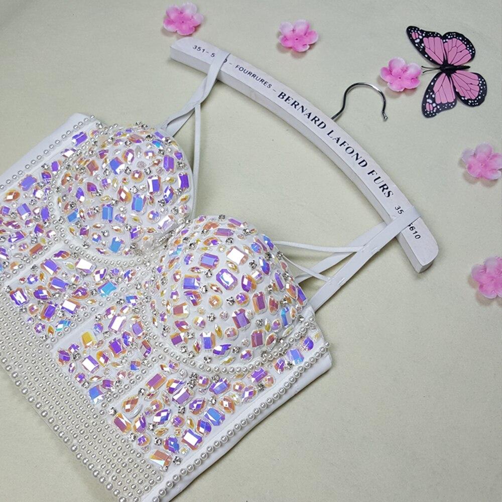 Nouveau haute qualité à la main Sexy femmes cristal strass brodé soutien-gorge haut bijoux perlé soutien-gorge perle mariée Bustier recadrée haut