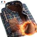 Langmeng 2016 Nuevos Mens Camisas de la Marca de Los Hombres 100% Algodón Terciopelo Camisa Masculina Camisas de Invierno Casual Manga Larga Vestido Caliente