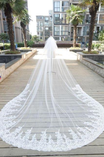 Cheap One Layer Bridal Veils Cathedral Length Veil Lace Applique Edge Wedding Tulle White Or