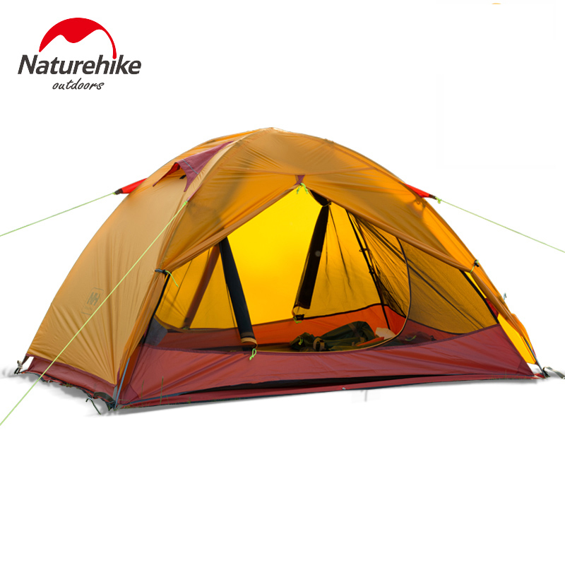 NatureHike Lightweight Tent Camping Outdoor 2 Person Beach Ultralight Tents Silicone Equipment Waterproof Rainproof Double-Layer ultralight 2 person camping tent outdoor double layer aluminum rod beach camping anti big rain four seasons camping equipment