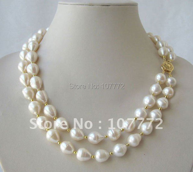 "Beautiful 2 Strands  19-20"" 13 mm white baroque freshwater pearl necklace"