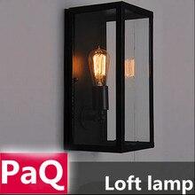 Лофт старинные стены лампа из кованого железа акрил коробка склад свет с эдисон лампы
