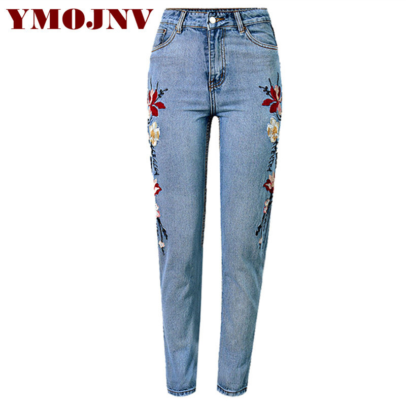 YMOJNV New 2017 Women's Clothing Jeans Vintage Flower Embroidery Straight Pants High Waist Washed Blue Casual Denim Pants Female flower embroidery jeans female blue casual pants capris 2017 spring summer pockets straight jeans women bottom a46