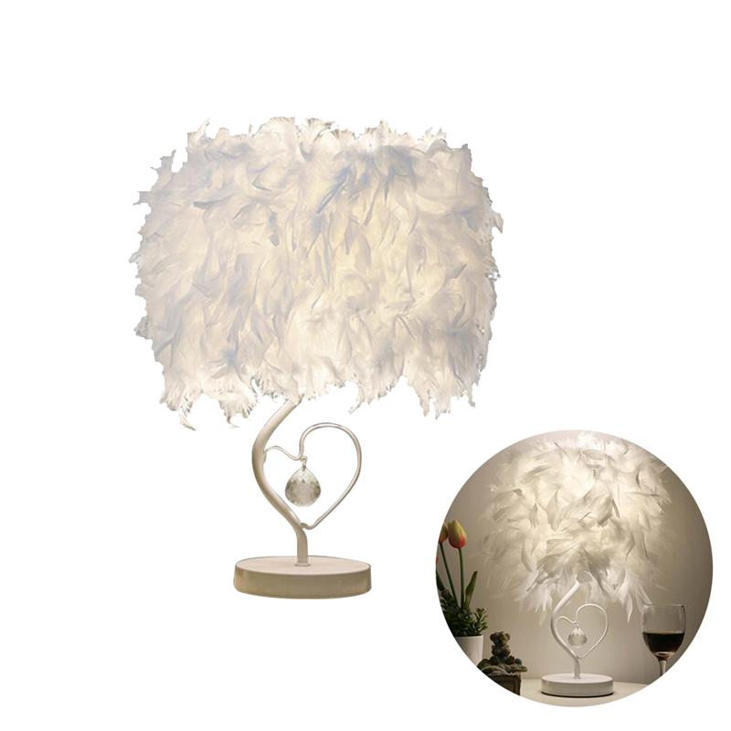 Настольные гостиная сердце Форма Перо абажур Crystal Light Настольная лампа с UK-plug
