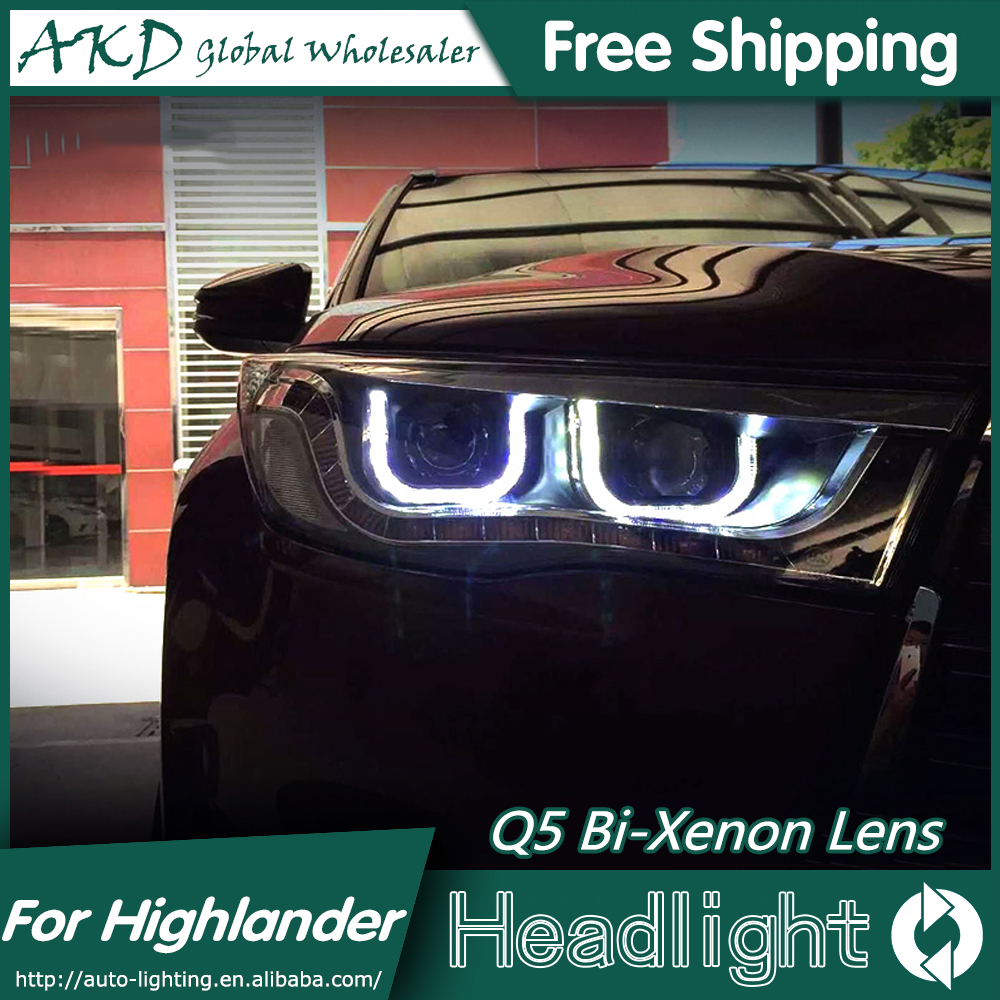 AKD Car Styling for Toyota Highlander Headlights 2015 New Kluger LED Headlight DRL Bi Xenon Lens High Low Beam Parking Fog Lamp hireno car styling for toyo ta corolla 2011 13 headlights led super bright headlight drl xenon lens high fog lam
