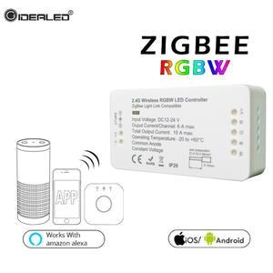 Best wireless wifi led rgb diy home rgb rgbw strip light zigbee controller dc12 24v smart wireless controller work with amazon echo alexa osram lightfy freerunsca Choice Image