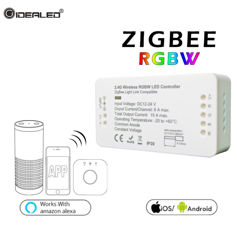 RGB RGBW Led ZIGBEE Strip Controller DC12-24V Wireless APP zll light Led strip Controller Link hue Amazon Echo Alexa plus OSRAM home smart zigbee strip controller work with amazon alexa voice control waterproof rgb strip light hue wireless controller