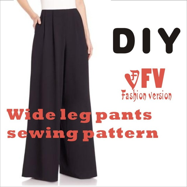 Wide leg trousers Pants sewing pattern The trousers pattern(Not the pants) elastic BCK 34-in Sewing Patterns from Home & Garden on Aliexpress.com | ...