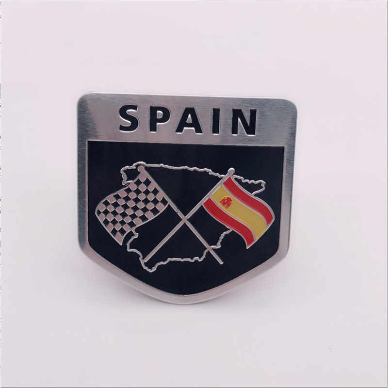Automobile Motorcycle Exterior Accessories Beautiful Country Spain Spanish National Flag Aluminum Alloy Car Stickers