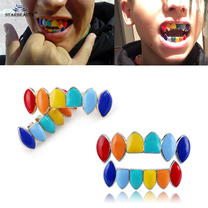 Us 2 83 29 Off 1set Colorful Teeth Grillz Set Mixed Design Fake Tooth Hip Hop Cool Men Body Jewelry Rap Mouth Caps Drop Shipping In
