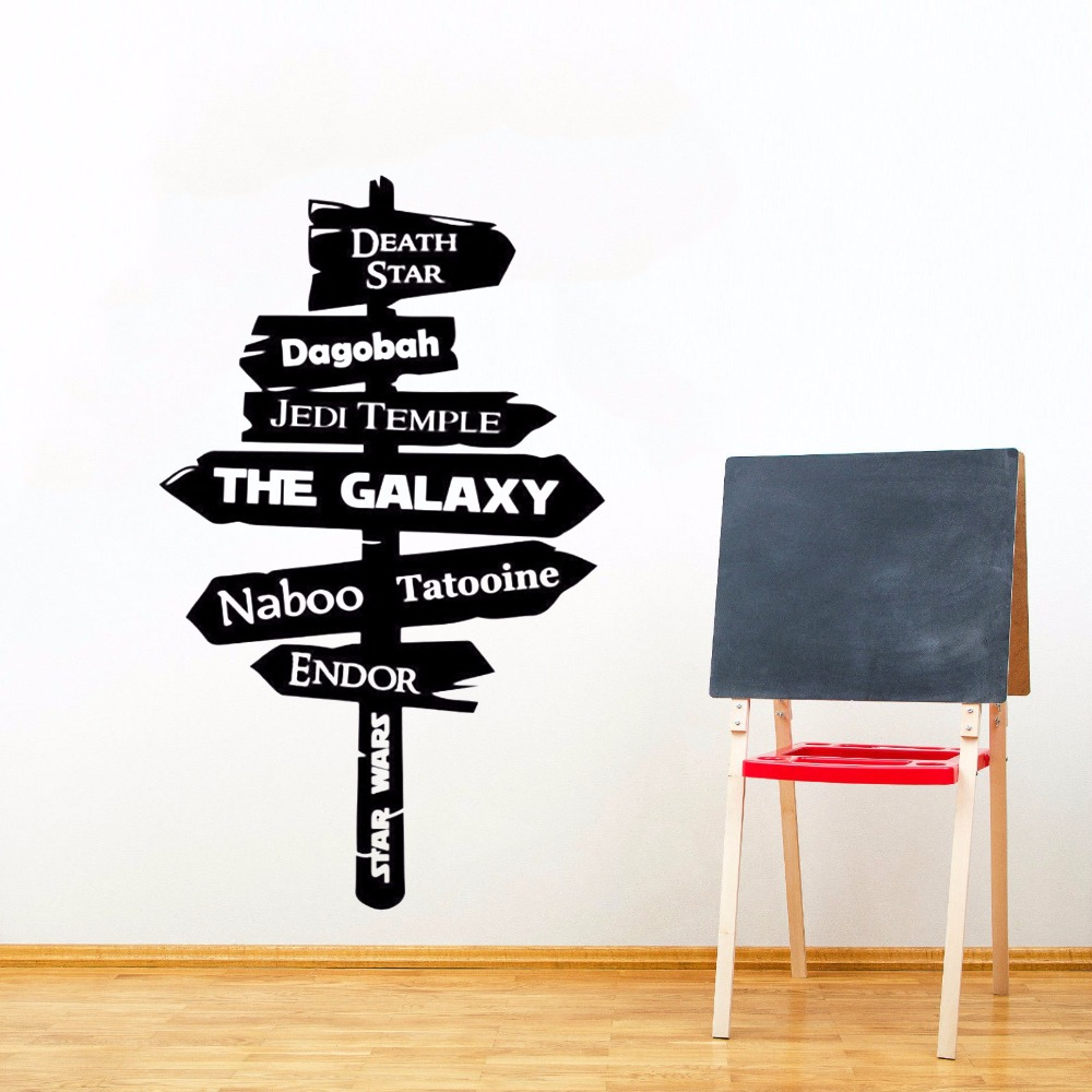 Star Wars Hot Movie Decor Road Sign Wall Sticker Galaxy Jedi Road Sign Room Decoration Bedroom Poster Mural Design Art W209 image