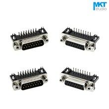 10 шт. образец черный мужской/женский DB15 DR15 D-Sub Угловые двухрядные контакты печатного монтажа VGA порты и разъёмы Разъем с гайки
