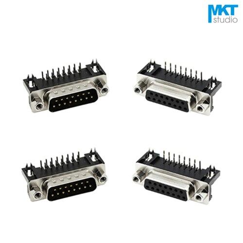 10 шт. образец черный мужской/женский DB15 DR15 D-Sub правый угол двухрядные контакты PCB крепление VGA порт разъем с винтовыми гайками
