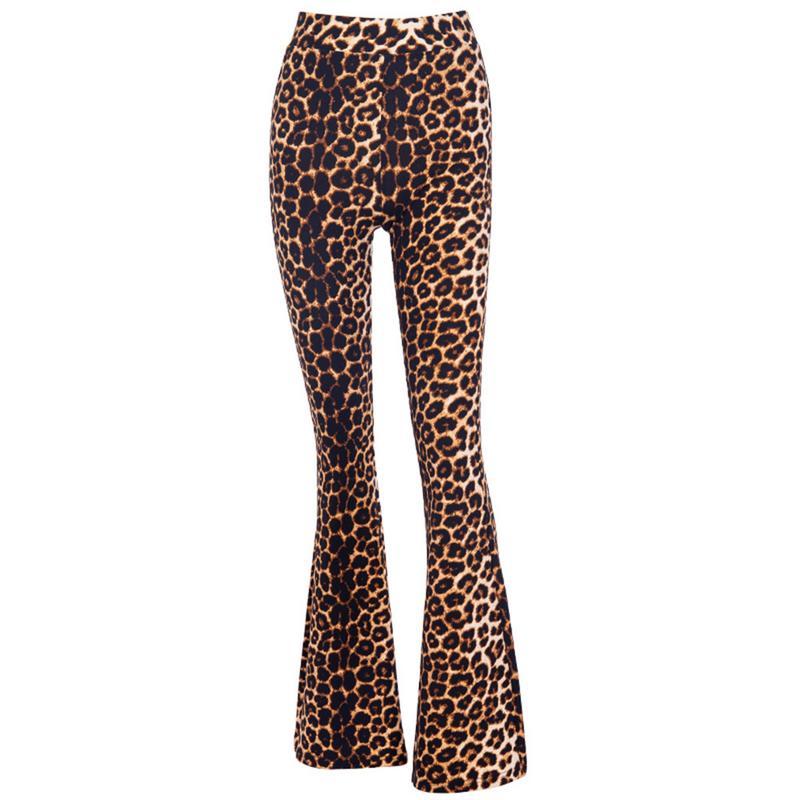 Autumn New Clothes Leopard   Wide     Leg     Pants   Women Sexy High Waist Long Leopard Trousers Leopard   Wide   Flare   Pants   Women