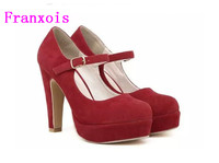 Women S Pumps 2016 Spring Autumn Single Shoes Princess Shoes Round Head Thick With Waterproof Suede