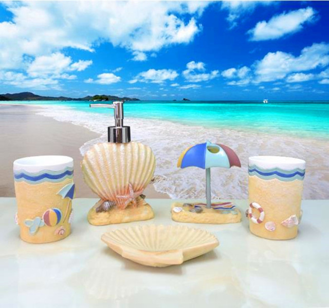 Resin Bathroom Set Of Five Pieces Bathroom Supplies Novelty Seashell Shape  Bathroom Set Ocean Theme Bath
