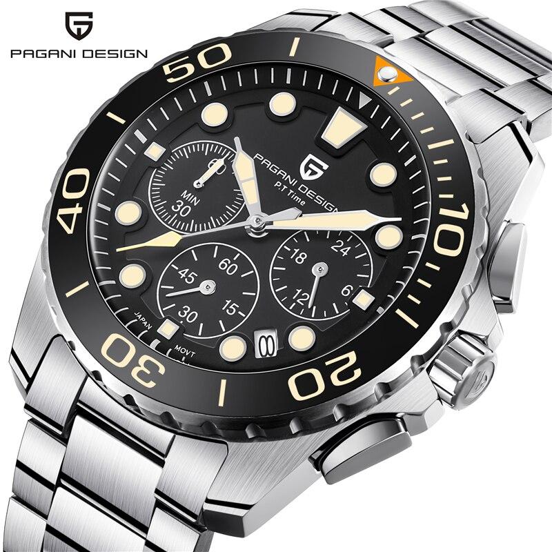 все цены на Relogio Masculino PAGANI DESIGN Luxury Brand Watch Mens Waterproof Military Chronograph Quartz Wristwatch Clock Men Montre Homme