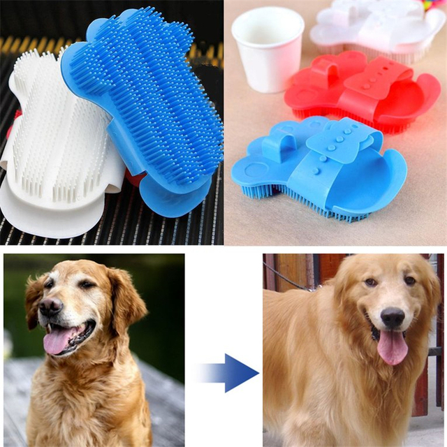 Pet Dog Grooming Glove Cat Hair Brush Comb Cleaning Massage Glove Animal Deshedding Gloves Effcient Bath Silicone Shower Combs