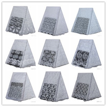 2019 Latest White African French Lace Fabric High Quality Embroidery Tulle Net Laces Fabrics For Dress 5 yard