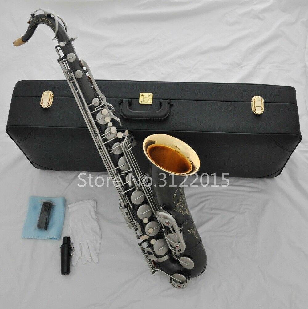 Sans marque Bb ténor laiton Saxophone Instrument de musique de haute qualité mat nickelé corps saxo avec étui peut Logo personnalisable