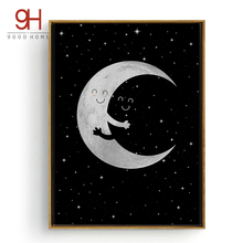 Cartoon Moon Hug Canvas Art Print Poster, Wall Pictures for Home Decoration, Child Room Wall Decor CM016-2