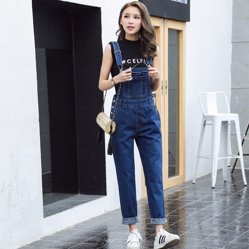 b1282 Hard-Working S-xl Jeans Women 2018 Jumpsuit Denim Overalls Loose Long Trousers Blue Denim Pants Rompers Womens Nourishing The Kidneys Relieving Rheumatism