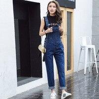 S XL Jeans Women 2018 Jumpsuit Denim Overalls loose Long Trousers blue Denim Pants Rompers womens (B1282)