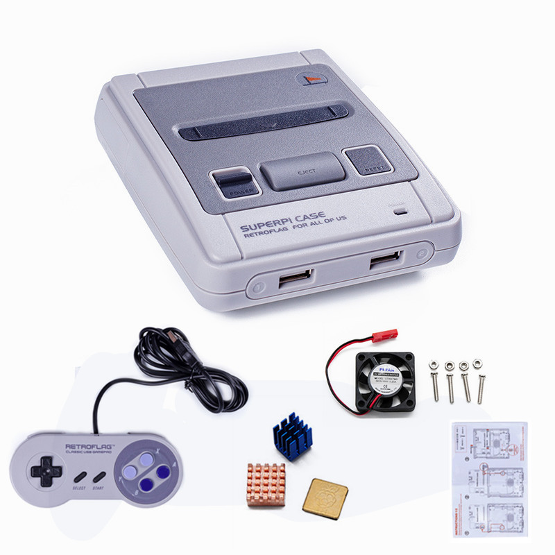 Mini Video Game Console Superpi-J Case Compatible Raspberry Pi 3B+ 3B 2B and B+ HDMI Putout TV Game Player & Gamepad For SNES