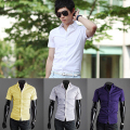 Newest Men's Fashion Summer Cool Turn-Down Collar Solid Slim Fit Short Sleeve Shirt