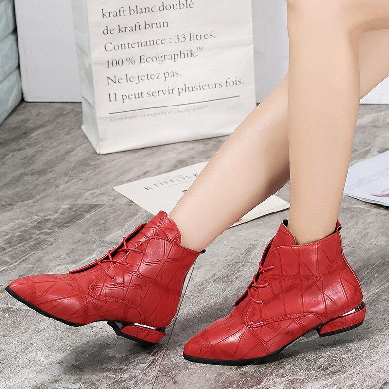 Moda Negro Tacón Rojo Punta Cuero rojo Casuales Mujeres La Tobillo Goma Botas Alto Bajo Las 2019 Zapatos Mujer Negro De Primavera qwvTII