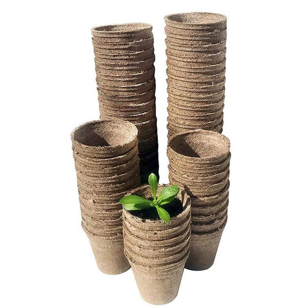 100pcs/50Pcs Nursery Pots Biodegradable Paper Pulp Peat Pots 8x8cm Plant Nursery Cup Tray Garden Supplies