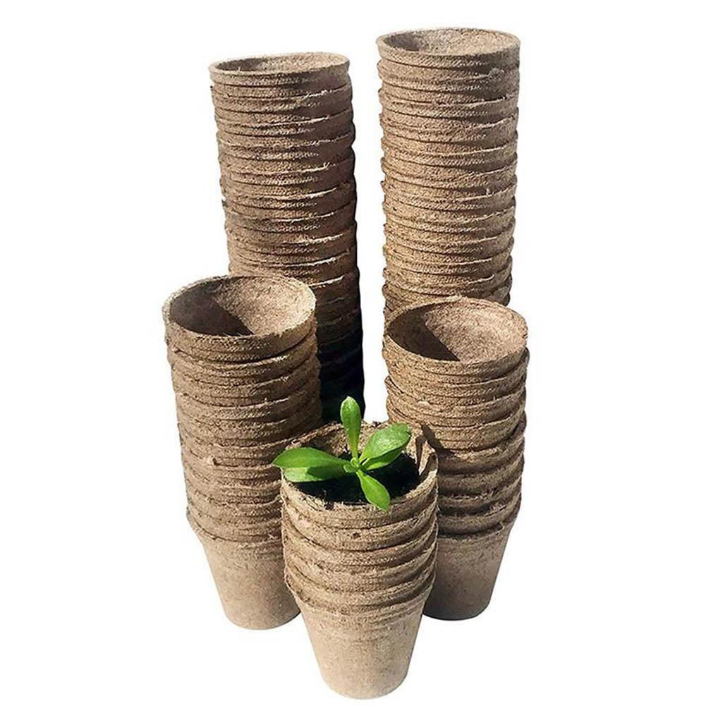 100pcs/50Pcs Nursery Pots Biodegradable Paper Pulp Peat Pots 8x8cm Plant Nursery Cup Tray Garden Supplies