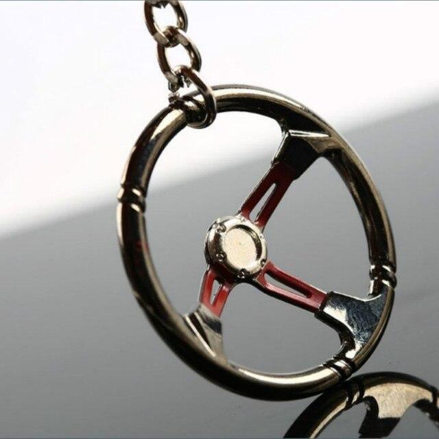 Mini Car Keychain Racing Car Steering Wheel Zinc Alloy Keyring Key