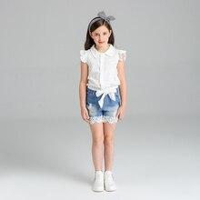 Casual Sleeveless Shirt+Denim Short For Girls